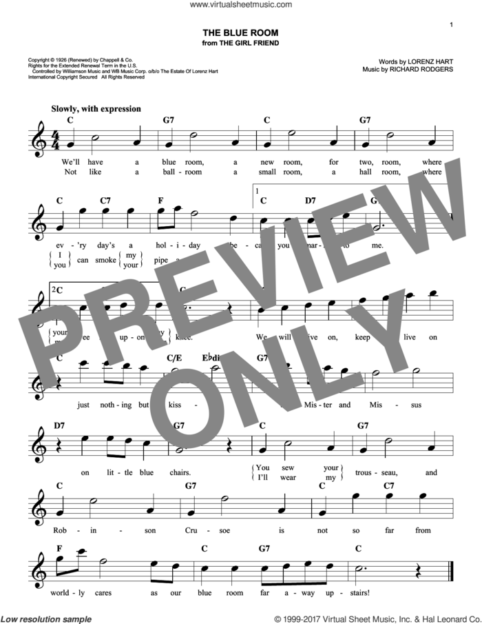 The Blue Room sheet music for voice and other instruments (fake book) by Rodgers & Hart, Lorenz Hart and Richard Rodgers, intermediate skill level