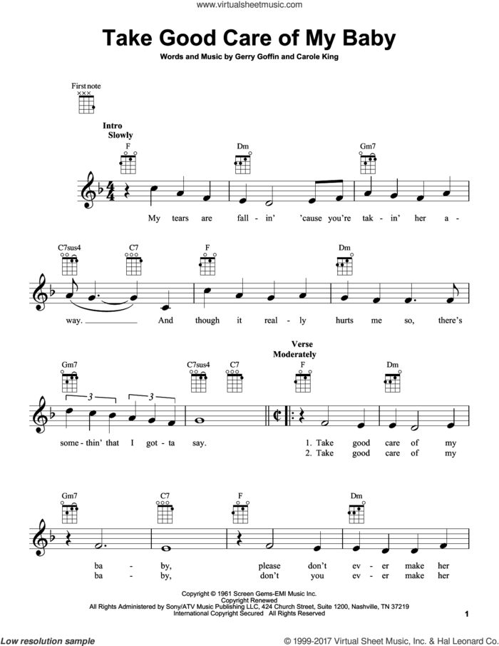 Take Good Care Of My Baby sheet music for ukulele by Carole King and Gerry Goffin, intermediate skill level
