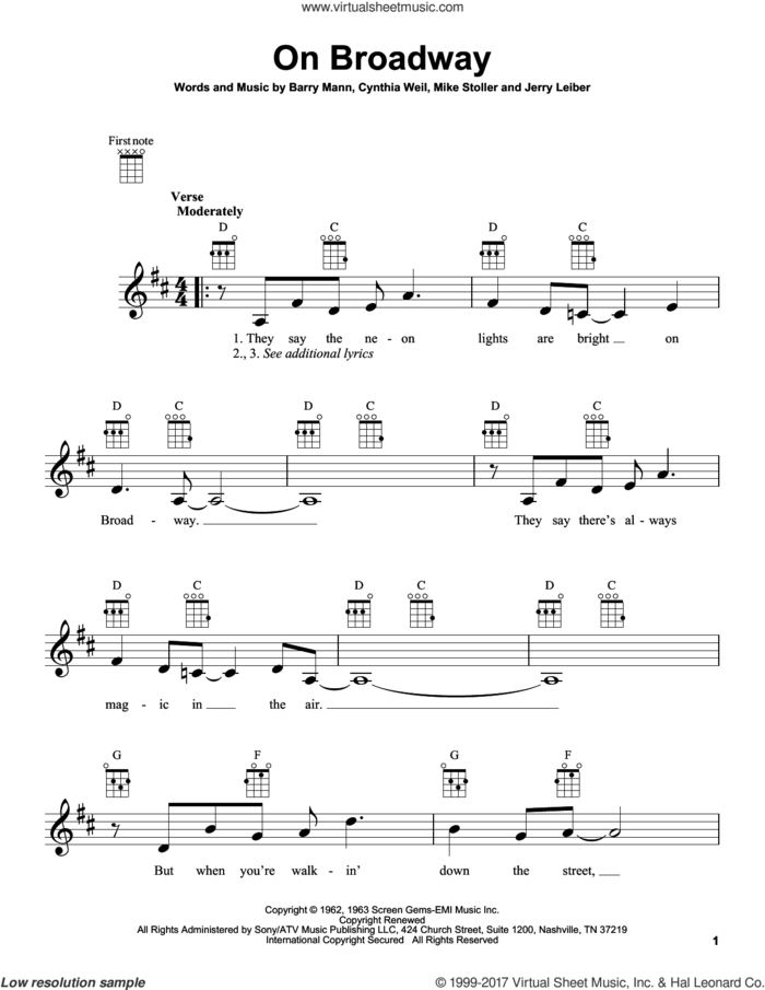 On Broadway sheet music for ukulele by Carole King, intermediate skill level