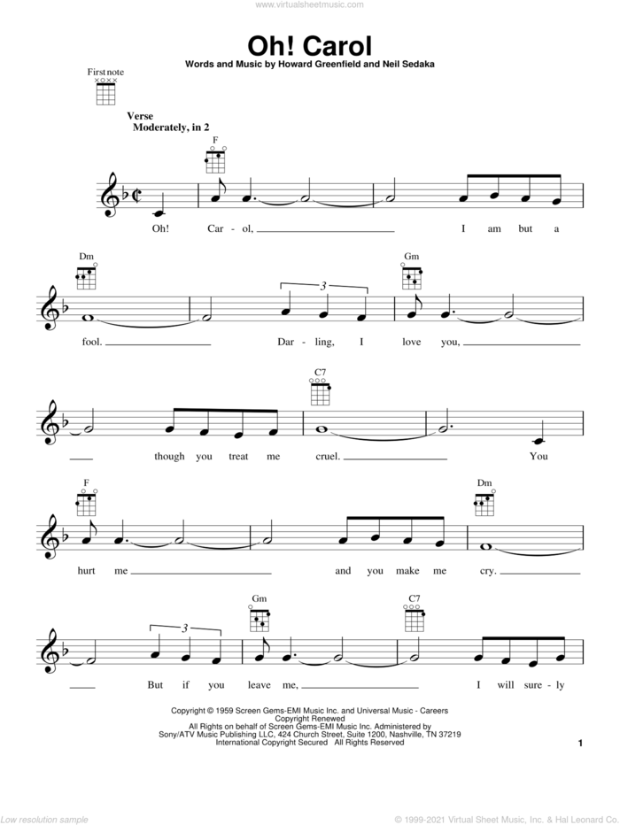 Oh! Carol sheet music for ukulele by Carole King and Howard Greenfield, intermediate skill level