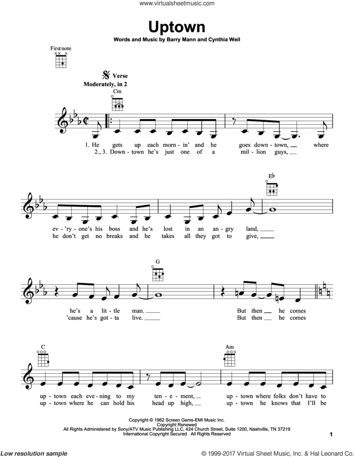 Uptown sheet music for ukulele by Carole King, Barry Mann and Cynthia Weil, intermediate skill level