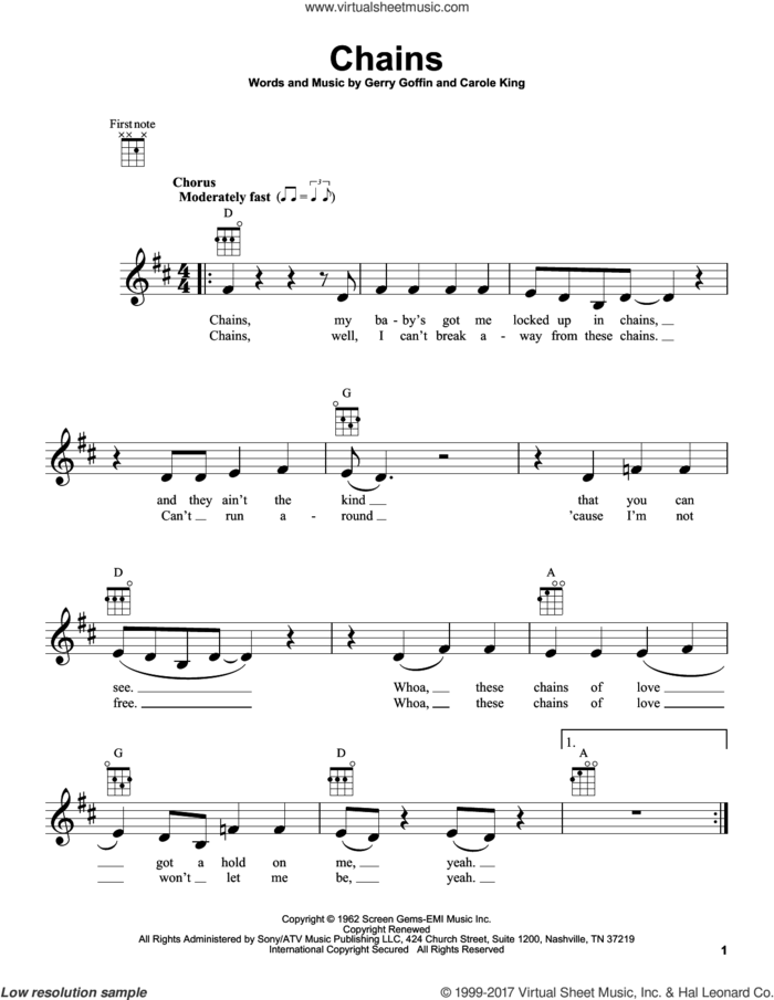 Chains sheet music for ukulele by Carole King, The Beatles, The Cookies and Gerry Goffin, intermediate skill level