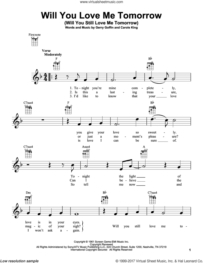 Will You Love Me Tomorrow (Will You Still Love Me Tomorrow) sheet music for ukulele by Carole King and Gerry Goffin, intermediate skill level