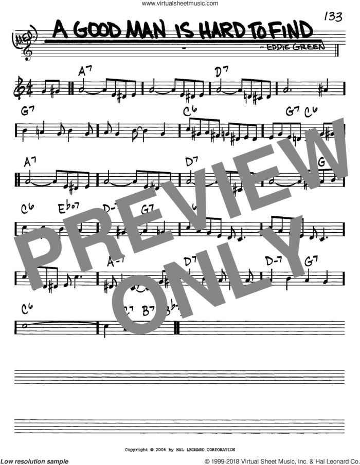 A Good Man Is Hard To Find sheet music for voice and other instruments (in C) by Eddie Green, intermediate skill level