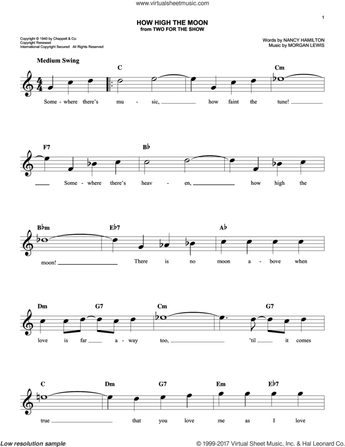 How High The Moon sheet music for voice and other instruments (fake book) by Les Paul & Mary Ford, Morgan Lewis and Nancy Hamilton, intermediate skill level