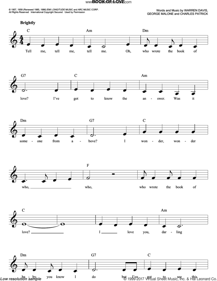 Book Of Love sheet music for voice and other instruments (fake book) by The Monotones, Charles Patrick, George Malone and Warren Davis, intermediate skill level