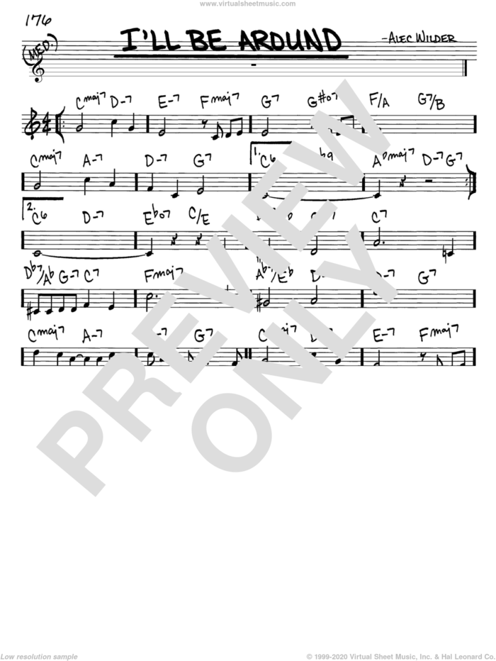 I'll Be Around sheet music for voice and other instruments (in C) by Alec Wilder, intermediate skill level