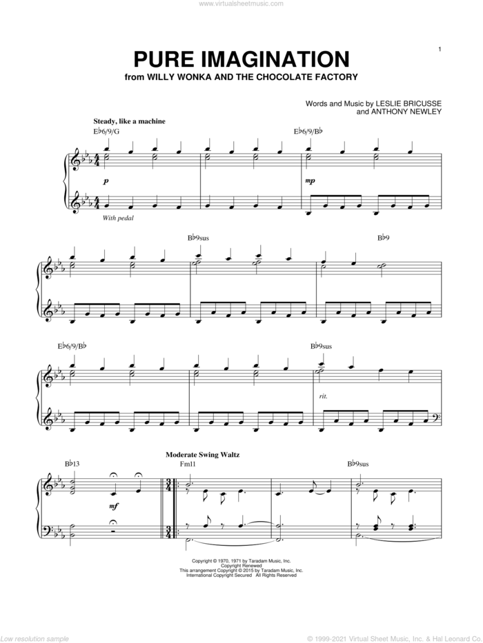 Pure Imagination [Jazz version] (arr. Brent Edstrom) sheet music for piano solo by Willy Wonka & the Chocolate Factory, Anthony Newley and Leslie Bricusse, intermediate skill level