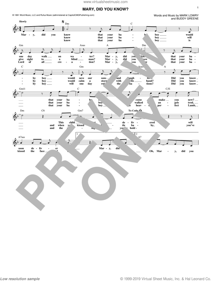 Mary, Did You Know? sheet music for voice and other instruments (fake book) by Mark Lowry and Buddy Greene, intermediate skill level