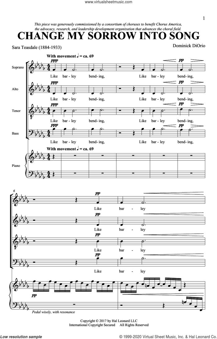 Change My Sorrow Into Song sheet music for choir (SATB: soprano, alto, tenor, bass) by Dominick DiOrio and Sara Teasdale, intermediate skill level