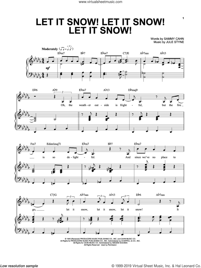 Let It Snow! Let It Snow! Let It Snow! sheet music for voice and piano by Sammy Cahn and Jule Styne, intermediate skill level