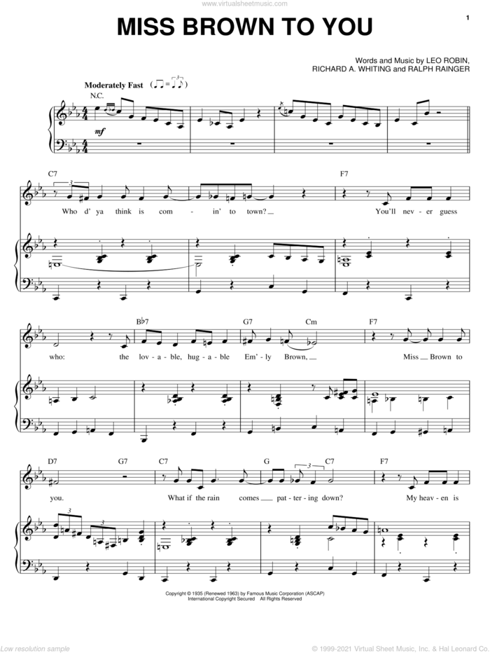 Miss Brown To You sheet music for voice, piano or guitar by Leo Robin, Ralph Rainger and Richard A. Whiting, intermediate skill level