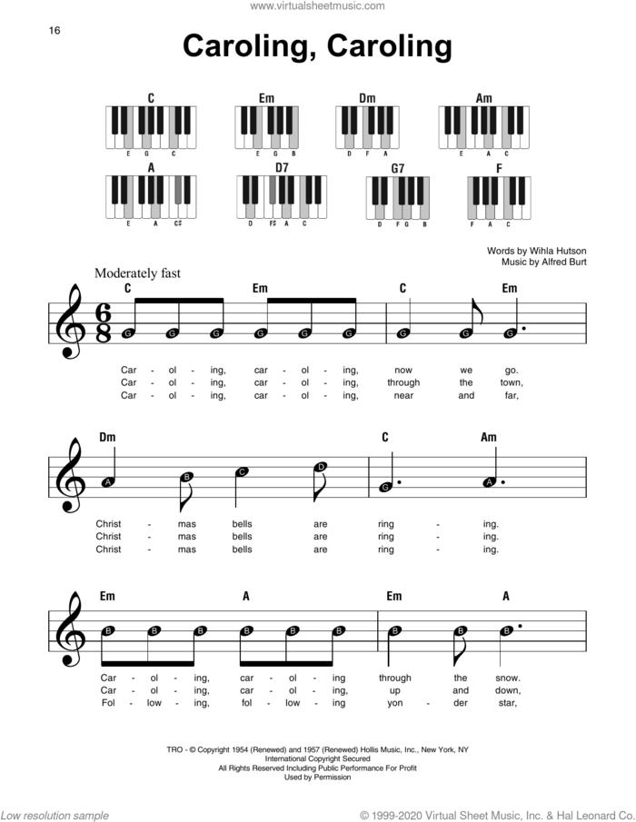 Caroling, Caroling sheet music for piano solo by Alfred Burt and Wihla Hutson, beginner skill level