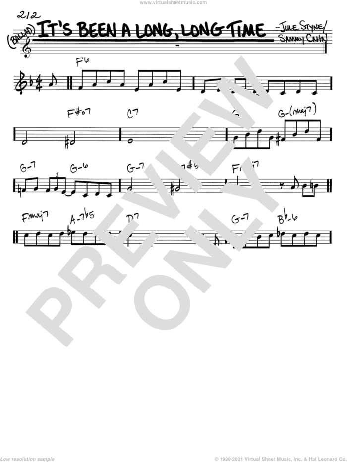 It's Been A Long, Long Time sheet music for voice and other instruments (in C) by Sammy Cahn and Jule Styne, intermediate skill level