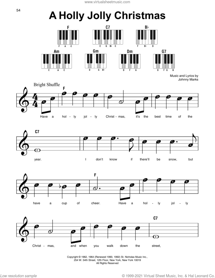 A Holly Jolly Christmas sheet music for piano solo by Johnny Marks, beginner skill level