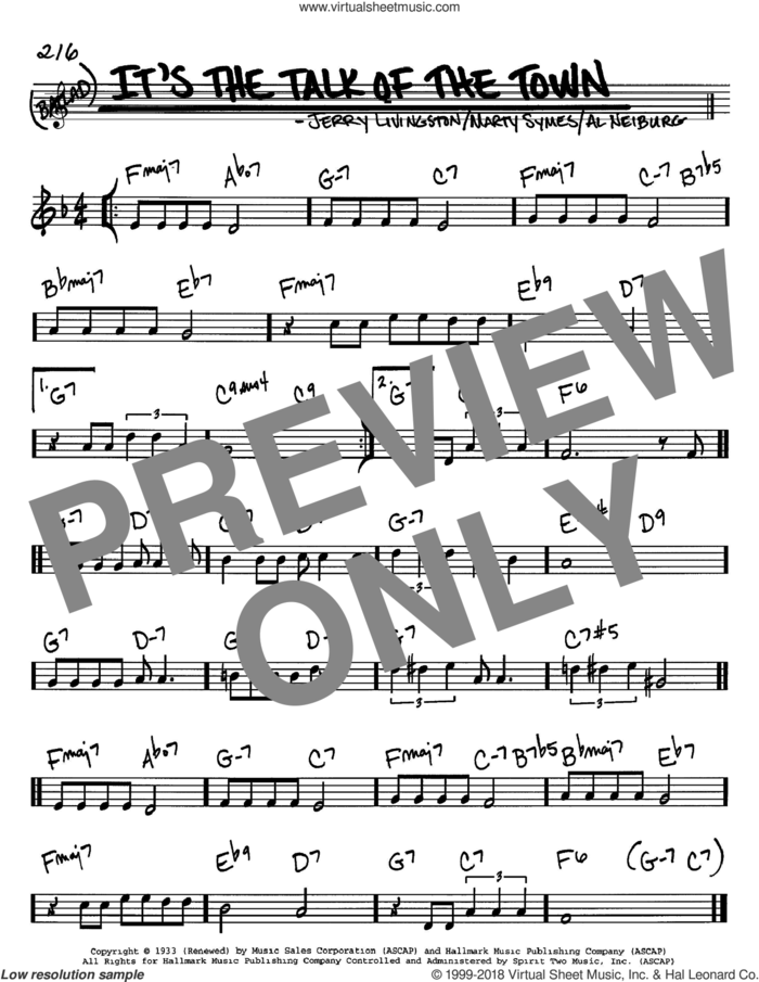It's The Talk Of The Town sheet music for voice and other instruments (in C) by Jerry Livingston, Al Neiburg and Marty Symes, intermediate skill level