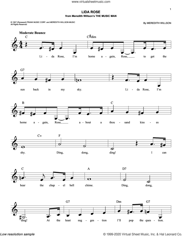 Lida Rose sheet music for voice and other instruments (fake book) by Meredith Willson, intermediate skill level