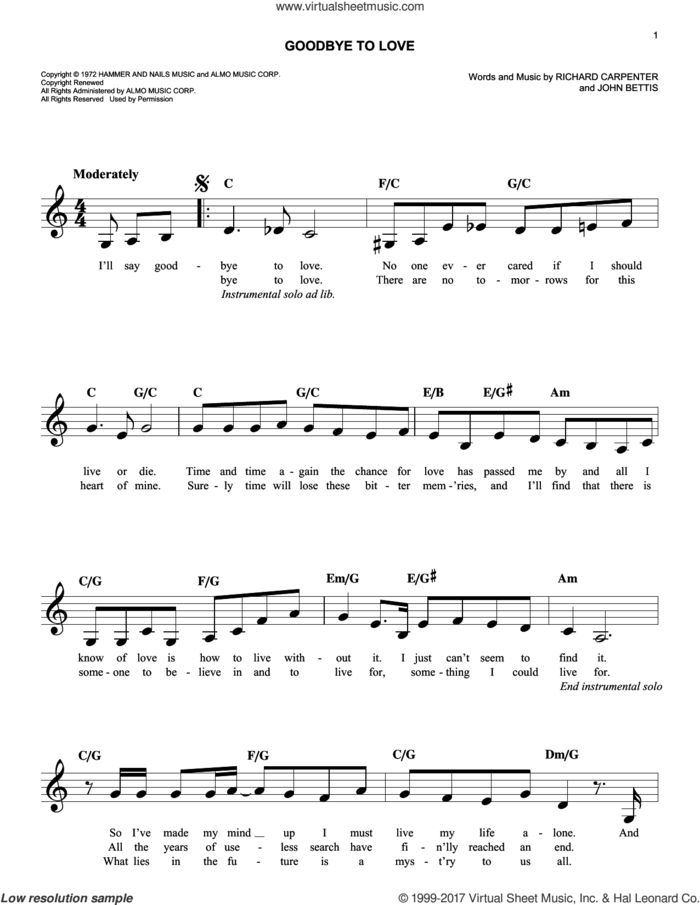 Goodbye To Love sheet music for voice and other instruments (fake book) by Richard Carpenter, Carpenters and John Bettis, intermediate skill level