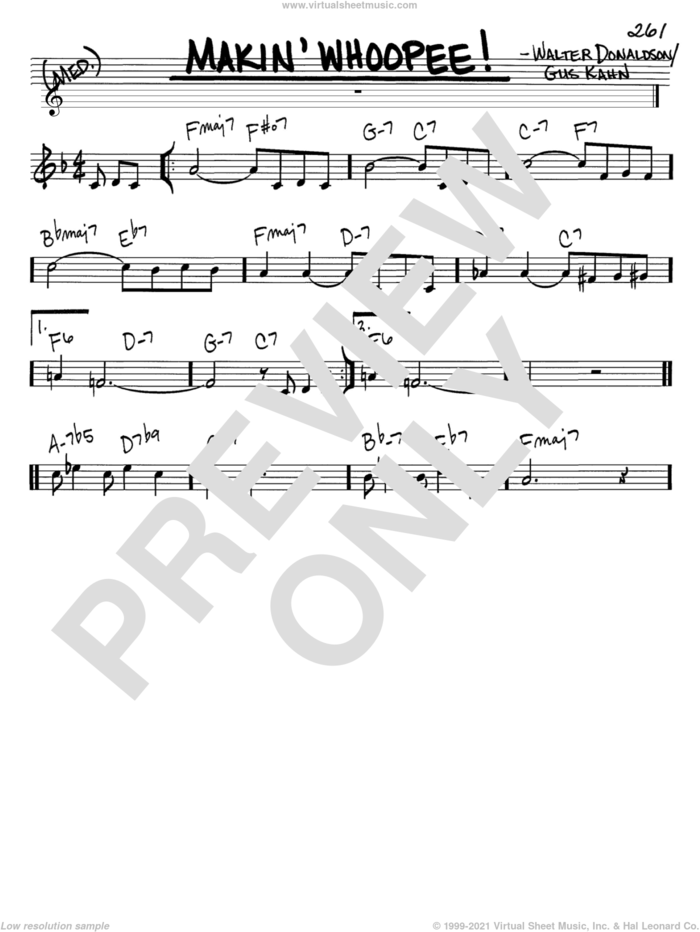 Makin' Whoopee! sheet music for voice and other instruments (in C) by Eddie Cantor, Gus Kahn and Walter Donaldson, intermediate skill level