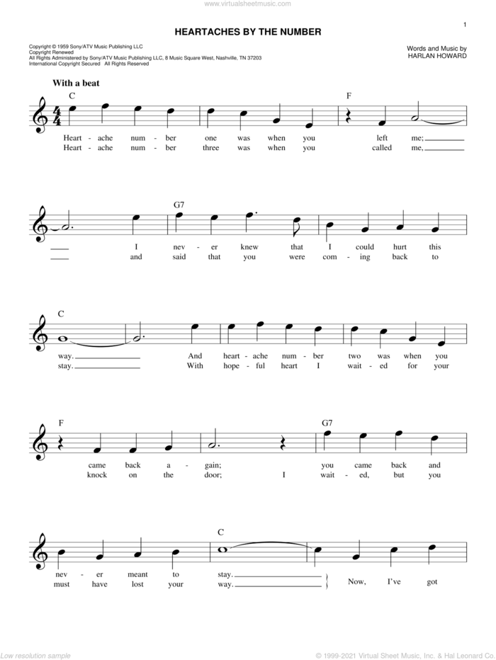 Heartaches By The Number sheet music for voice and other instruments (fake book) by Ray Price, Guy Mitchell and Harlan Howard, intermediate skill level