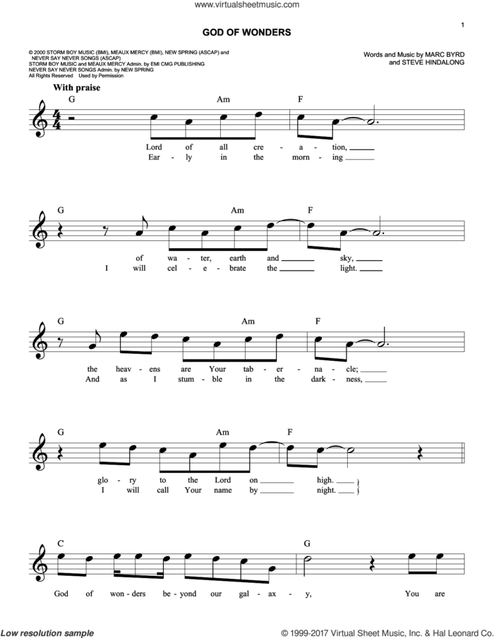 God Of Wonders sheet music for voice and other instruments (fake book) by Third Day, Rebecca St. James, Marc Byrd and Steve Hindalong, intermediate skill level