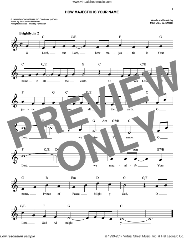 How Majestic Is Your Name sheet music for voice and other instruments (fake book) by Michael W. Smith and Sandi Patty, intermediate skill level