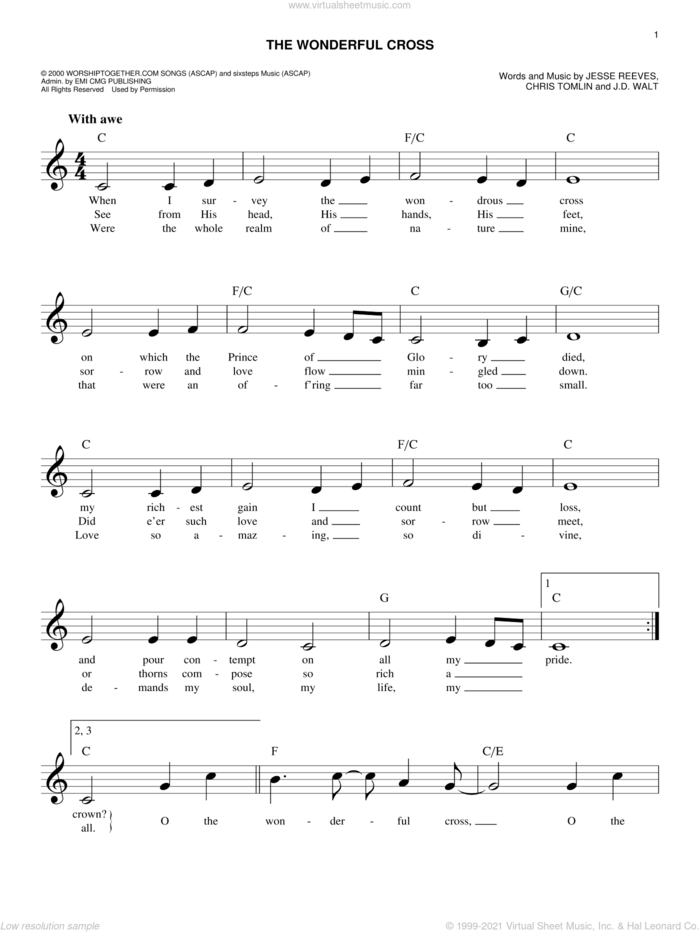 The Wonderful Cross sheet music for voice and other instruments (fake book) by Chris Tomlin, Phillips, Craig & Dean, J.D. Walt and Jesse Reeves, intermediate skill level