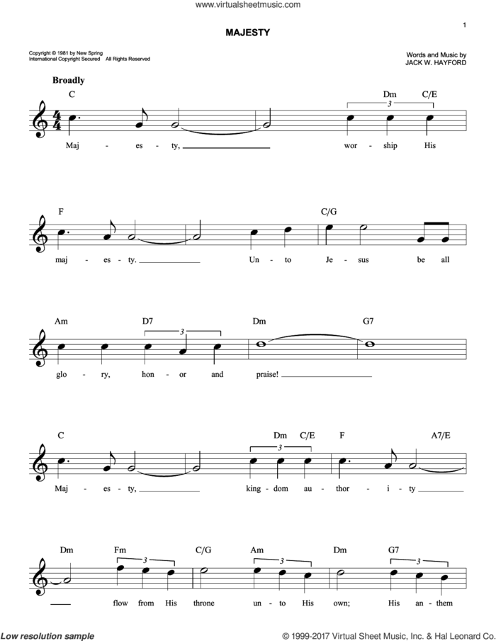 Majesty sheet music for voice and other instruments (fake book) by Jack Hayford, intermediate skill level