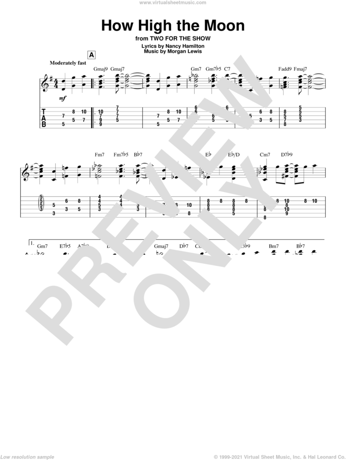 How High The Moon sheet music for guitar solo by Les Paul & Mary Ford, Morgan Lewis and Nancy Hamilton, intermediate skill level
