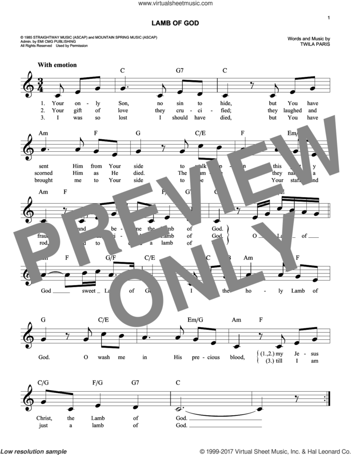 Lamb Of God sheet music for voice and other instruments (fake book) by Twila Paris, intermediate skill level