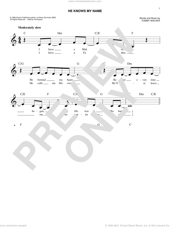 He Knows My Name sheet music for voice and other instruments (fake book) by Tommy Walker, intermediate skill level