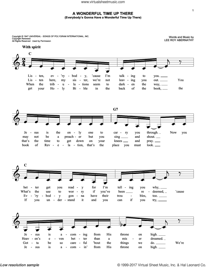 A Wonderful Time Up There (Everybody's Gonna Have A Wonderful Time Up There) sheet music for voice and other instruments (fake book) by Pat Boone and Lee Roy Abernathy, intermediate skill level