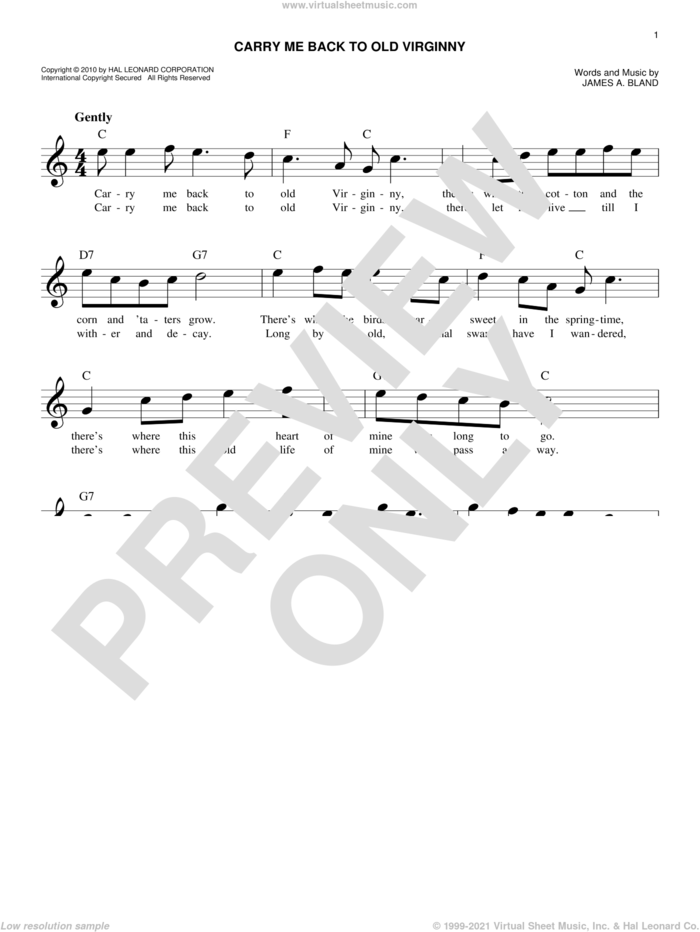 Carry Me Back To Old Virginny sheet music for voice and other instruments (fake book) by James A. Bland, intermediate skill level