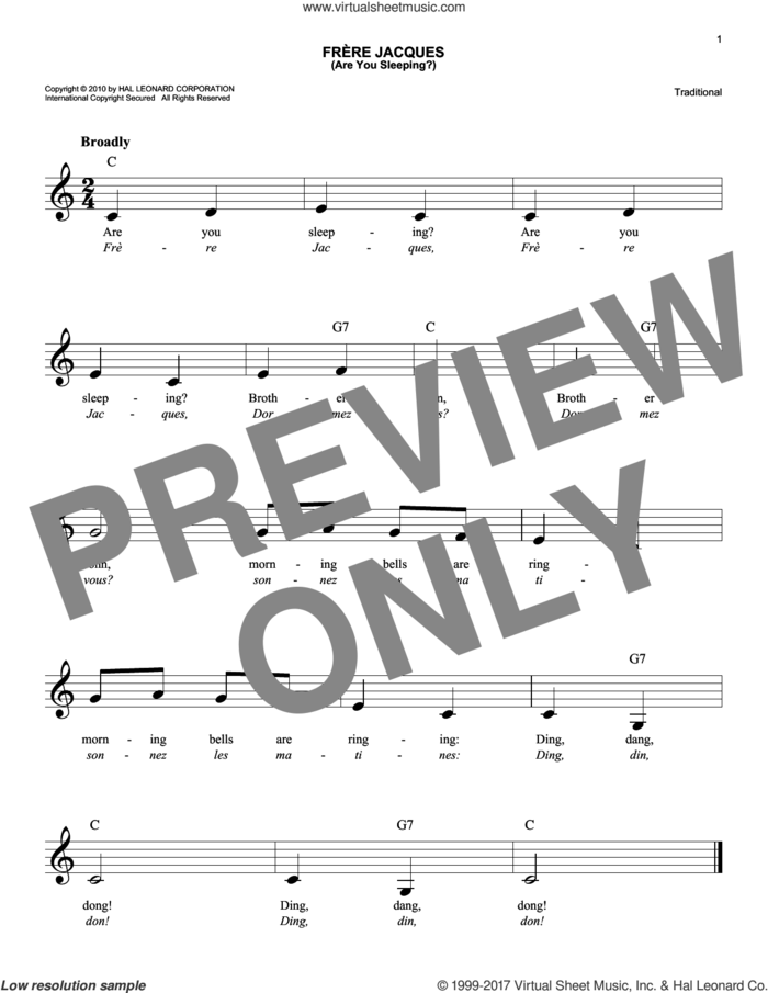 Frere Jacques (Are You Sleeping?) sheet music for voice and other instruments (fake book), intermediate skill level