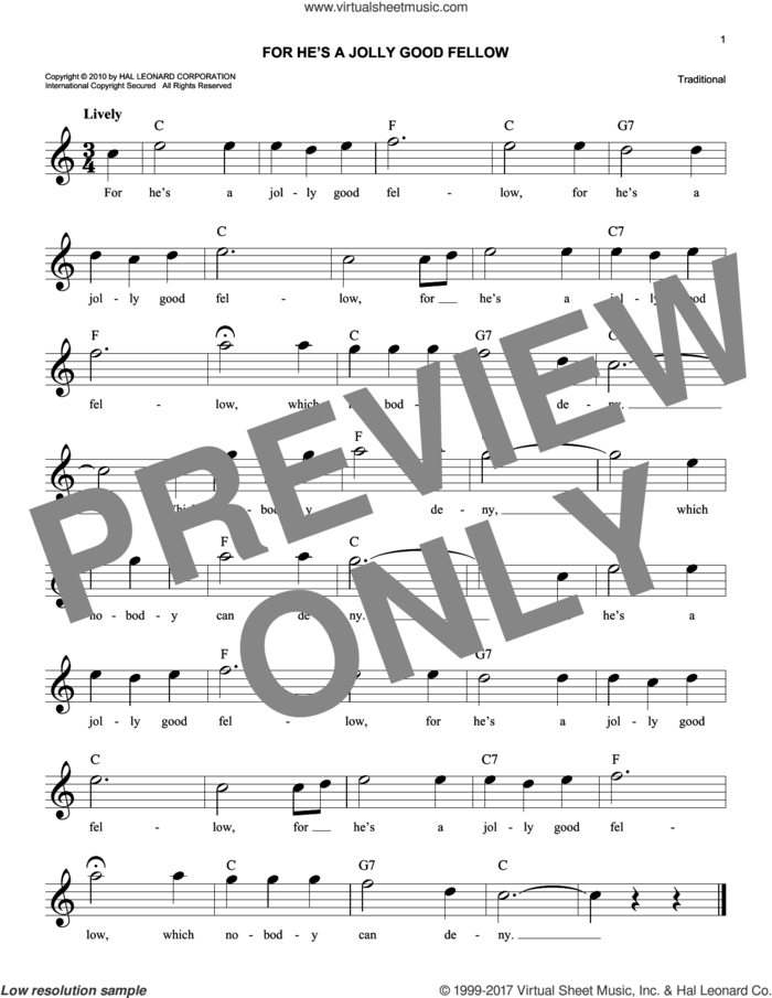 For He's A Jolly Good Fellow sheet music for voice and other instruments (fake book), intermediate skill level