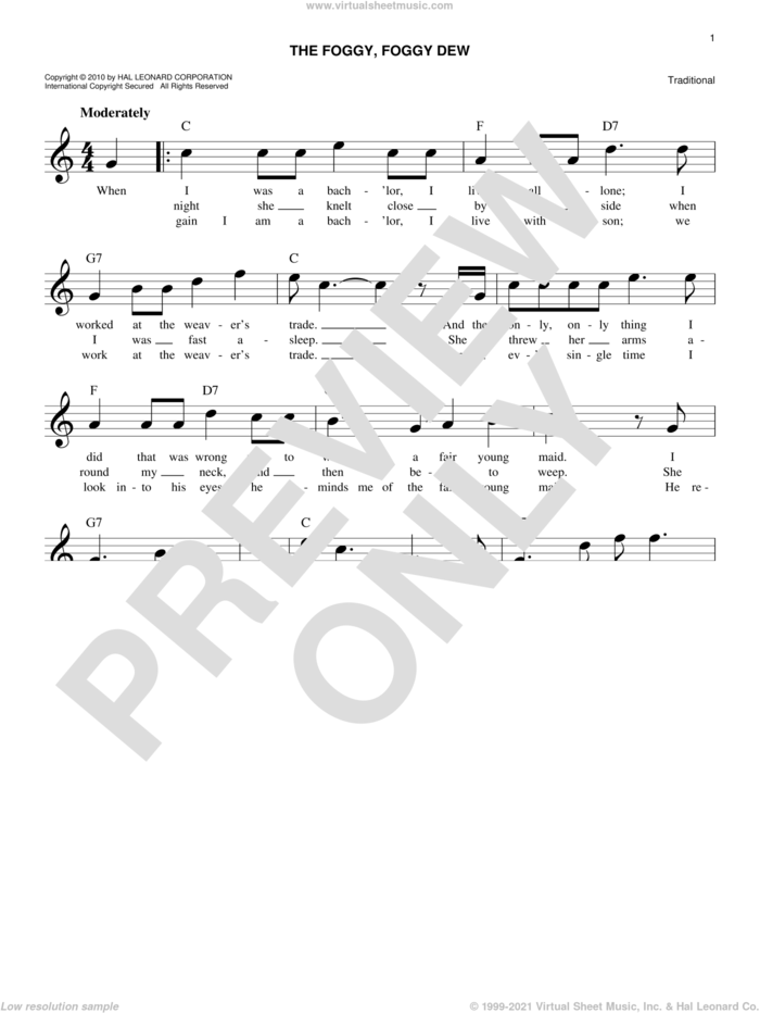 The Foggy, Foggy Dew sheet music for voice and other instruments (fake book), intermediate skill level