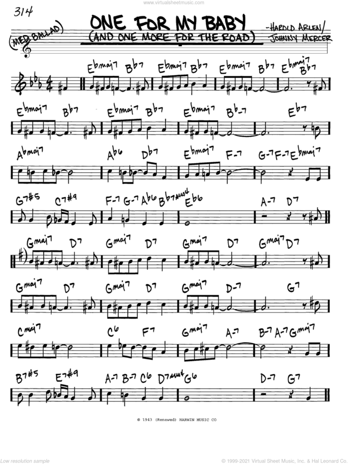 One For My Baby (And One More For The Road) sheet music for voice and other instruments (in C) by Frank Sinatra, Harold Arlen and Johnny Mercer, intermediate skill level