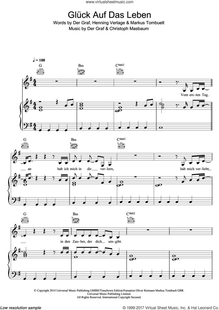Gluck Auf Das Leben sheet music for voice, piano or guitar by Unheilig, Christoph Masbaum and Der Graf, intermediate skill level