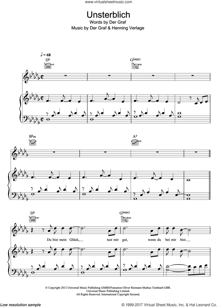 Unsterblich sheet music for voice, piano or guitar by Unheilig, Der Graf and Henning Verlage, intermediate skill level
