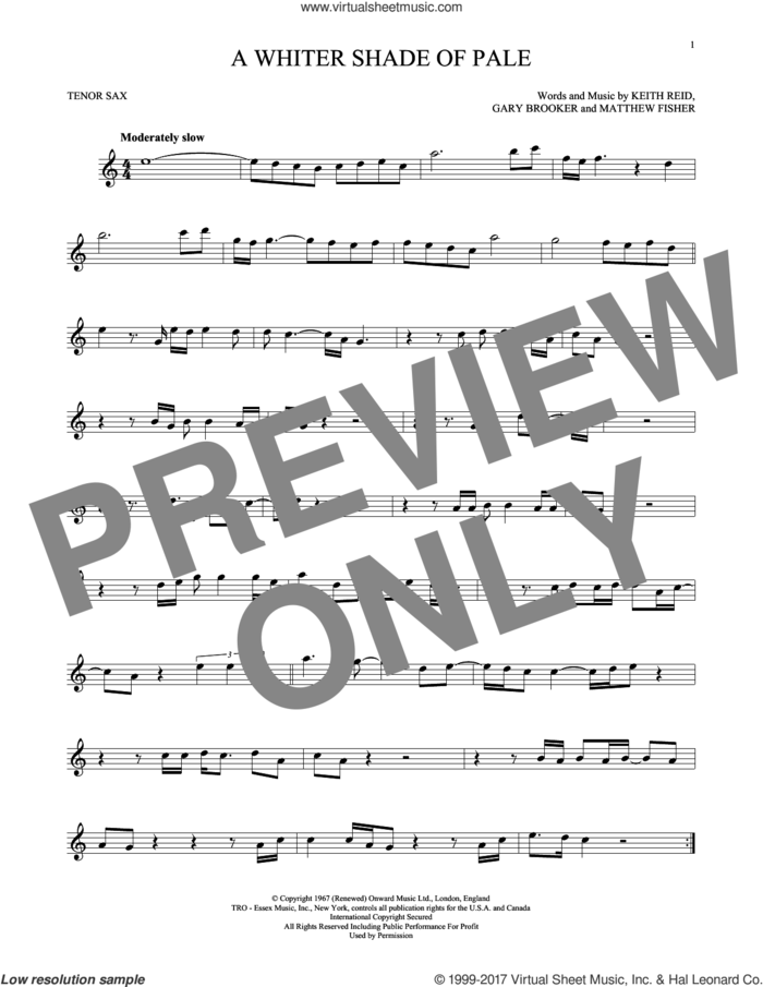 A Whiter Shade Of Pale sheet music for tenor saxophone solo by Procol Harum, Gary Brooker, Keith Reid and Matthew Fisher, intermediate skill level