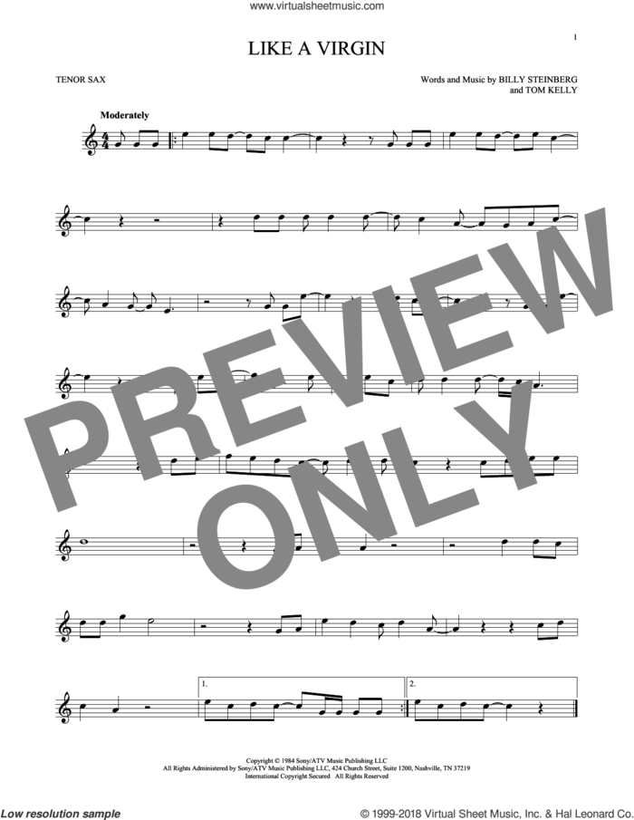 Like A Virgin sheet music for tenor saxophone solo by Madonna, Billy Steinberg and Tom Kelly, intermediate skill level