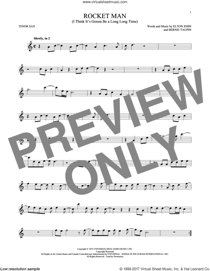 Rocket Man (I Think It's Gonna Be A Long Long Time) sheet music for tenor saxophone solo by Elton John and Bernie Taupin, intermediate skill level