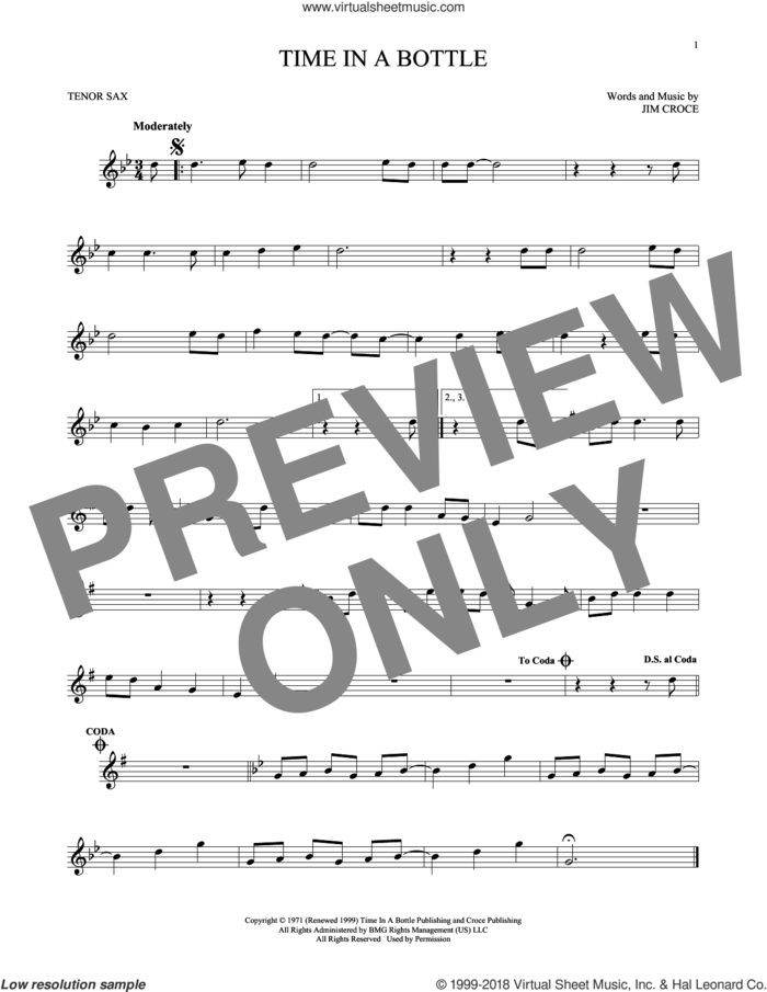 Time In A Bottle sheet music for tenor saxophone solo by Jim Croce, intermediate skill level