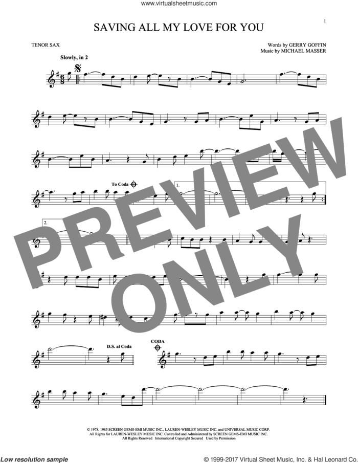 Saving All My Love For You sheet music for tenor saxophone solo by Whitney Houston, Gerry Goffin and Michael Masser, intermediate skill level