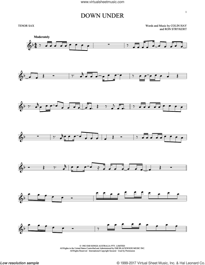 Down Under sheet music for tenor saxophone solo by Men At Work, Colin Hay and Ron Strykert, intermediate skill level