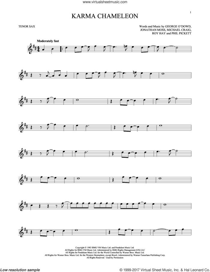 Karma Chameleon sheet music for tenor saxophone solo by Culture Club, Jonathan Moss, Michael Craig, Phil Pickett and Roy Hay, intermediate skill level