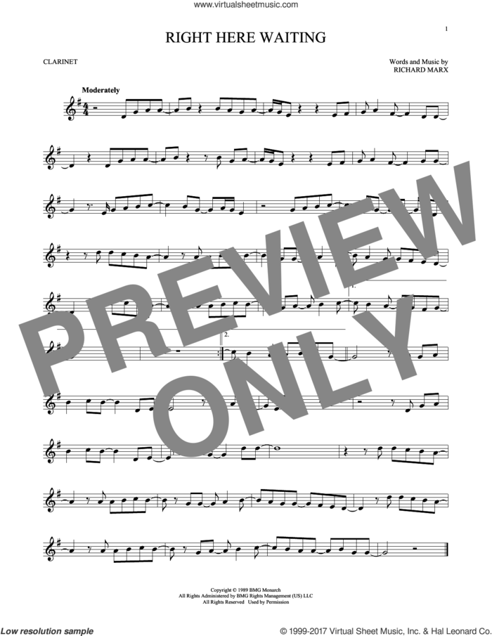 Right Here Waiting sheet music for clarinet solo by Richard Marx, intermediate skill level