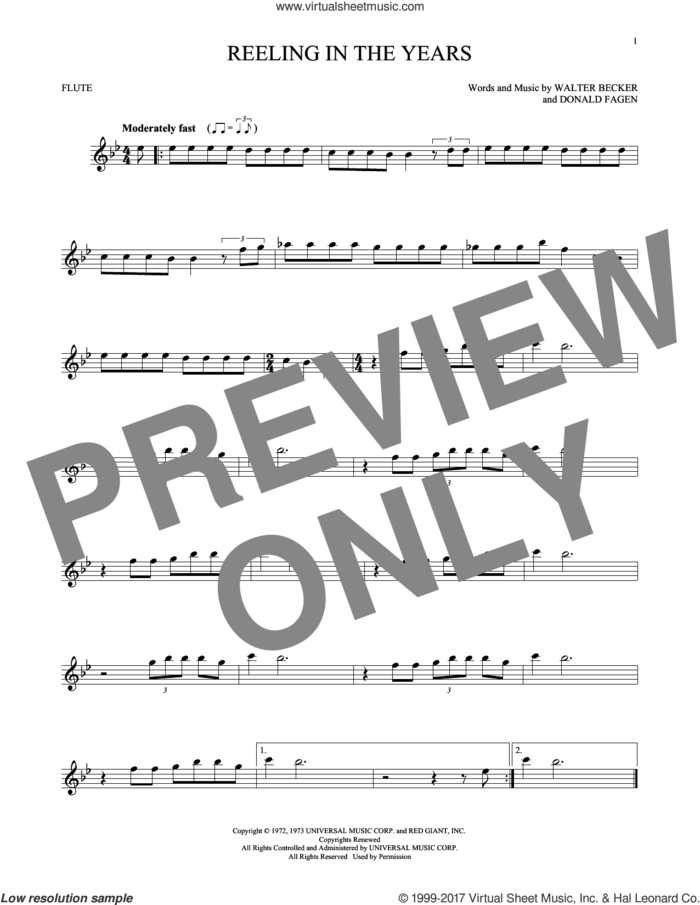 Reeling In The Years sheet music for flute solo by Steely Dan, Donald Fagen and Walter Becker, intermediate skill level