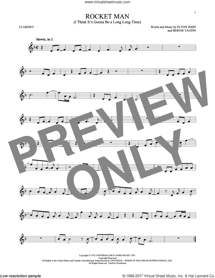 Rocket Man (I Think It's Gonna Be A Long Long Time) sheet music for clarinet solo by Elton John and Bernie Taupin, intermediate skill level