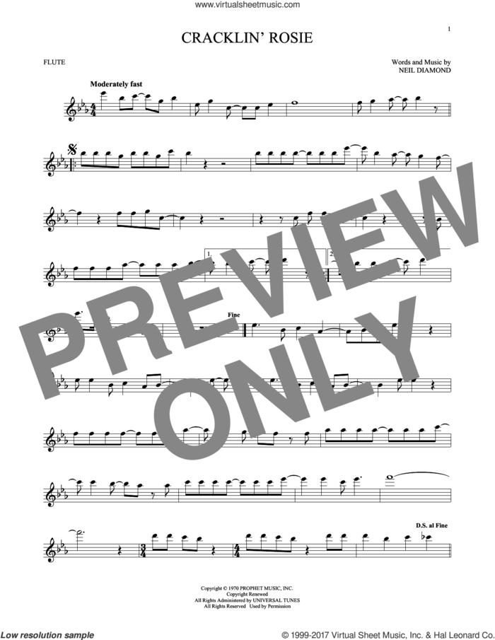 Cracklin' Rosie sheet music for flute solo by Neil Diamond, intermediate skill level